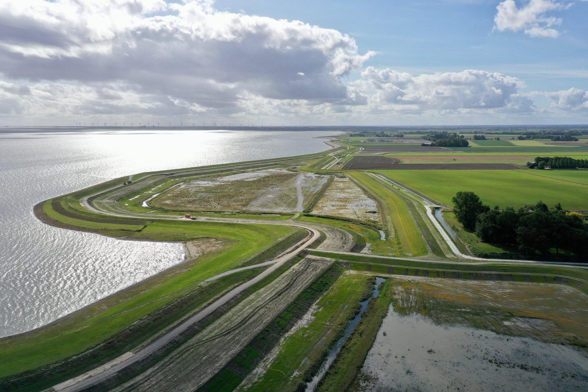 Luchtfoto Dubbele Dijk bij Bierum