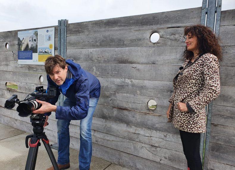 Filmopnames voor vlog programma Eems-Dollard 2050 bij Polder Breebaart